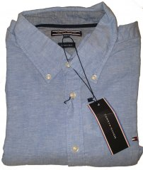 Tommy Hilfiger Cotton/linen Short Sleeve Shirt Blue