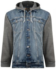 Kam Jeans Miguel Denim Jacket with Jersey Sleeves