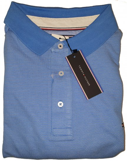 Tommy Hilfiger Jacquard Structure Polo Blue - Outlet -