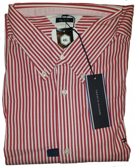 Tommy Hilfiger North Stripe Long Sleeve Shirt Red - Outlet -