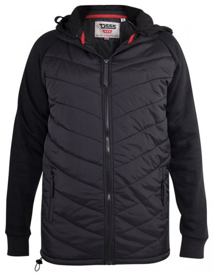 D555 Thorpe Hooded Quilted Jacket With Fleece Sleeves And Removable Fleece Hood - Jakid & Vihmariided - Joped, suured suurused: 2XL – 8XL