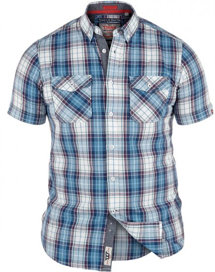 D555 Everett Twin Pocket Short Sleeve Shirt - Särgid - Meeste suured särgid 2XL – 8XL