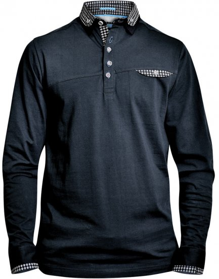 D555 REMUS Long Sleeve Polo Shirt Black - Polosärgid - Meeste suured polosärgid 2XL – 8XL