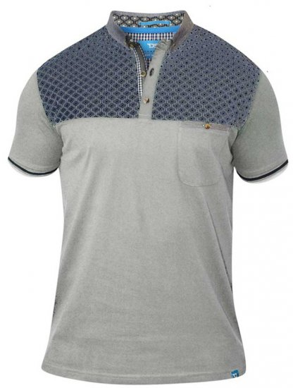 D555 MAURICE Top Paneled Short Sleeve Polo Grey - Polosärgid - Meeste suured polosärgid 2XL – 8XL