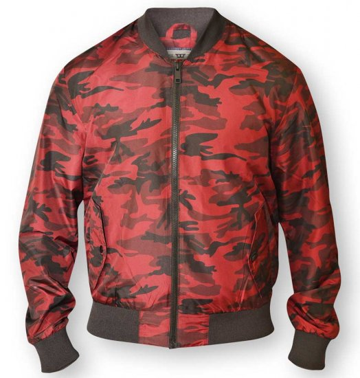 D555 CAMO Lined Camouflage Bomber Jacket Red - Jakid - Joped, suured suurused: 2XL – 8XL