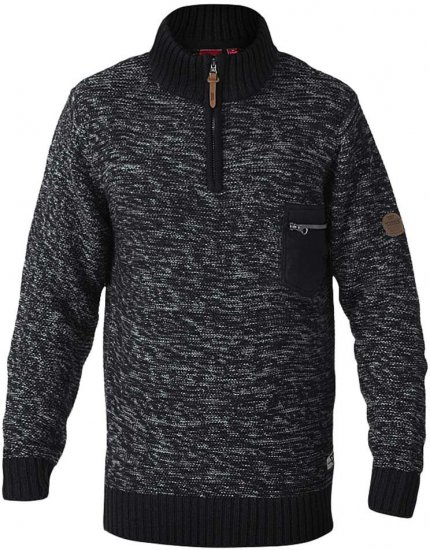 D555 REMINGTON Sweater With Woven Zipper Chest Pocket Black/Charcoal - Sviitrid ja Dressipluusid - Meeste suured kapuutsiga jakid suurustes 2XL – 8XL