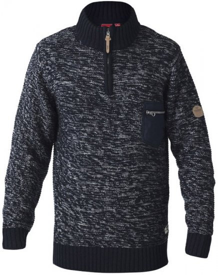 D555 REMINGTON Sweater With Woven Zipper Chest Pocket Navy/Grey - Sviitrid ja Dressipluusid - Meeste suured kapuutsiga jakid suurustes 2XL – 8XL