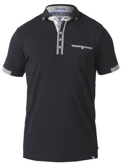 D555 SWANN Short Sleeve Stretch Polo Black - Polosärgid - Meeste suured polosärgid 2XL – 8XL