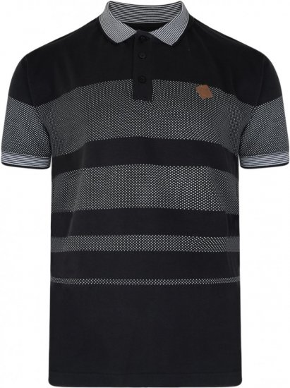 Kam Jeans 5222 Stripe and Dot Polo Black - Polosärgid - Meeste suured polosärgid 2XL – 8XL