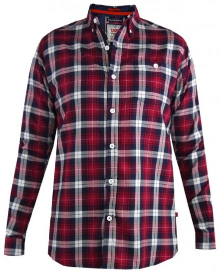 D555 Baltimore Checked Shirt Red - Särgid - Meeste suured särgid 2XL – 8XL