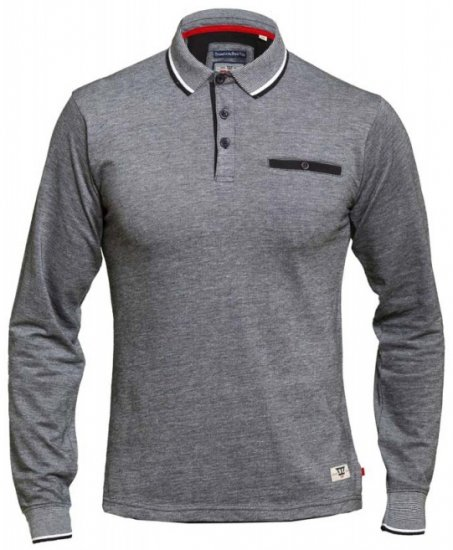 D555 Brockville Long Sleeve Polo Grey - Polosärgid - Meeste suured polosärgid 2XL – 8XL