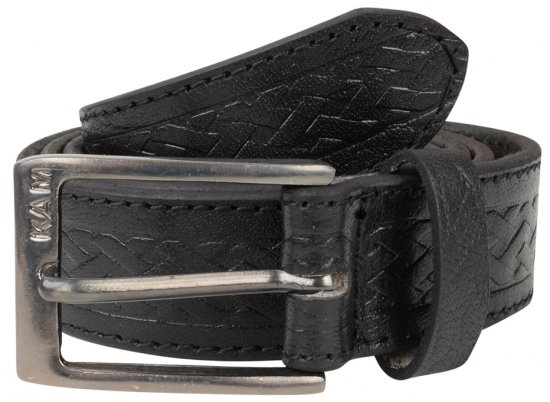 Kam Jeans 919 Weave Pattern Leather Belt Black - Rihmad - Pikad Rihmad W40-W70/2XL-8XL
