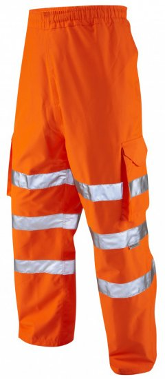 Leo Instow Breathable Executive Cargo Rain pants Hi-Vis Orange - Tööriided - Suured tööriided