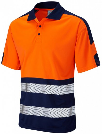 Leo Watersmeet Coolviz Plus Polo Hi-Vis Orange/Navy - Tööriided - Suured tööriided